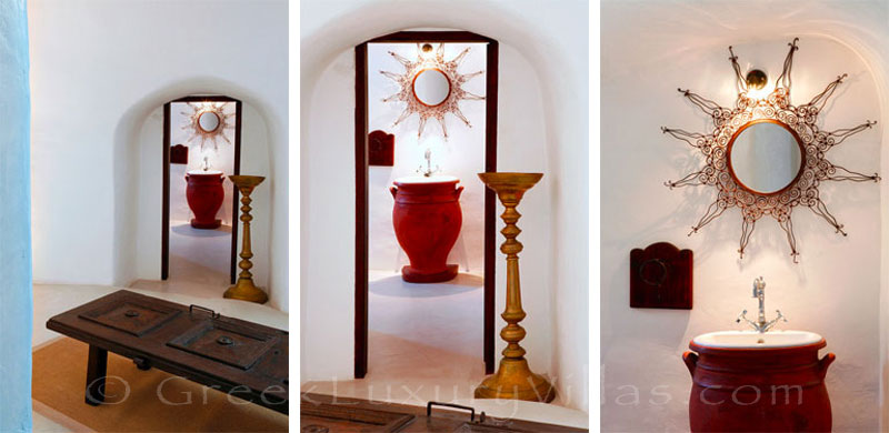 A detail in a traditional village house with a pool in Santorini