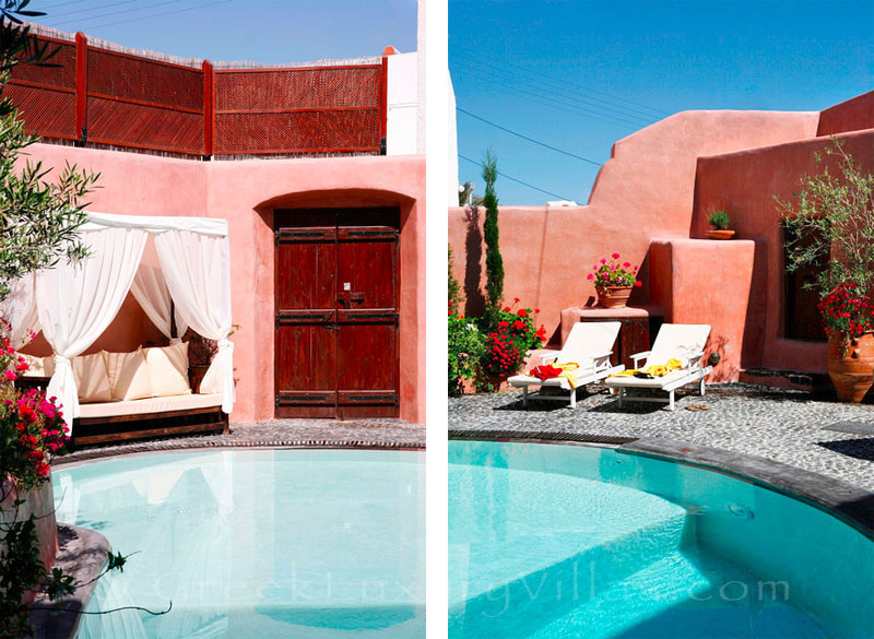 The courtyard of a traditional village house with a pool in Santorini
