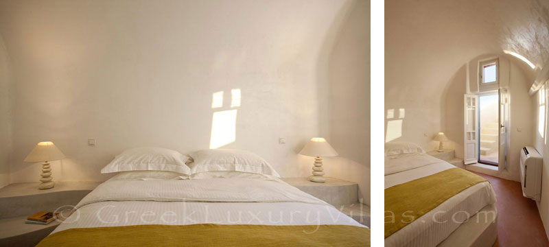 A bedroom of the mansion luxury villa in Oia, Santorini