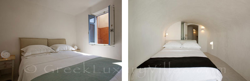 A twin-bedroom in the mansion luxury villa in Oia, Santorini