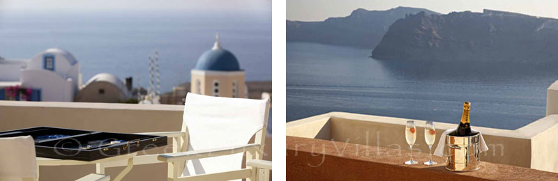 Sunset view from the terrace of a luxury villa in Oia, Santorini