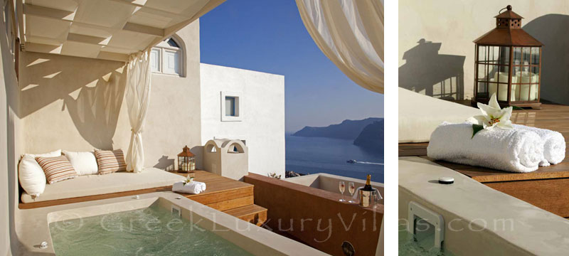 The jacuzzi on the terrace of a luxury villa in Oia, Santorini