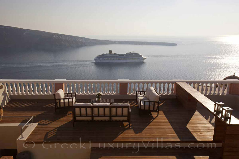 Panoramic view from the roof terrace of the luxury villa in Oia, Santorini