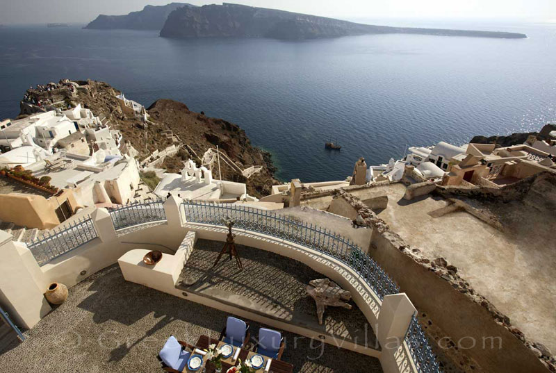 View over Oia from a mansion luxury villa in Oia, Santorini