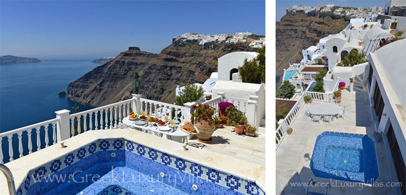 A large villa with a pool on the cliff in Santorini with stunning view