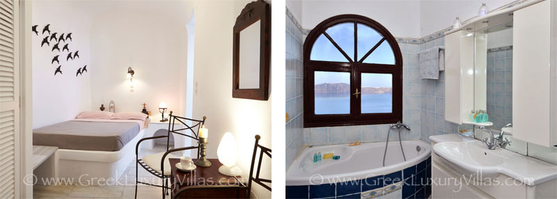 A bedroom of a large villa with a pool on the cliff of Santorini