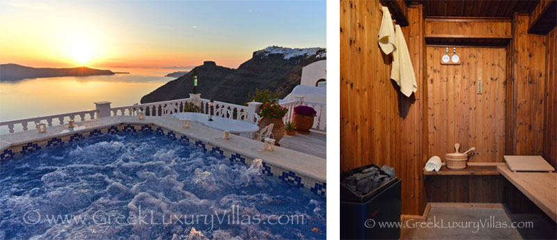 A large villa in Santorini with a pool on the cliff