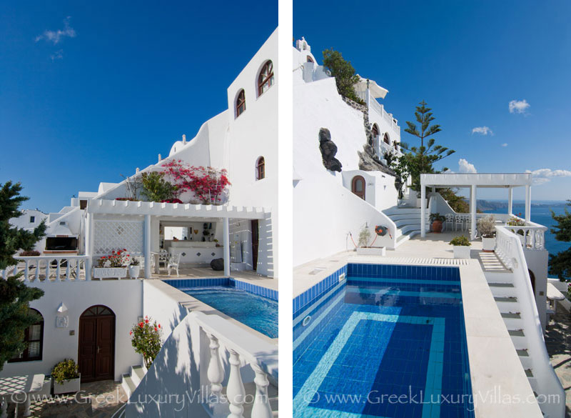An impressive villa with a pool on the edge of the cliff in Santorini