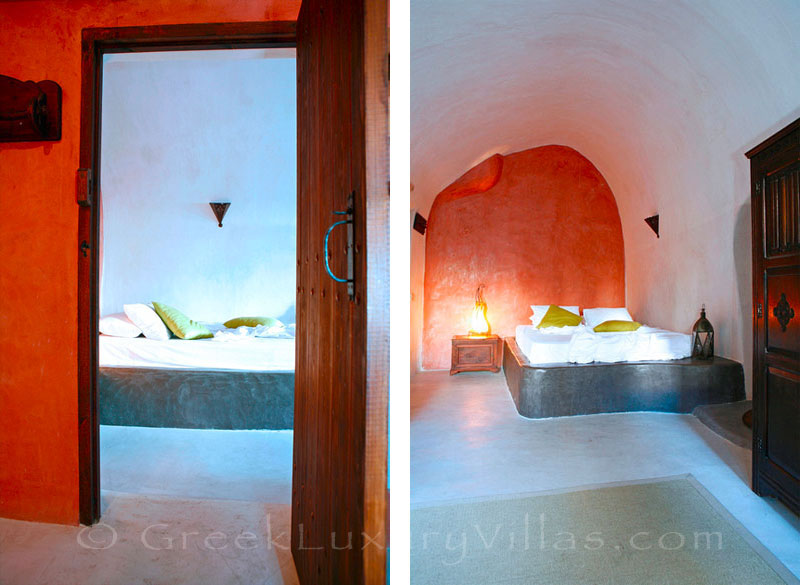 The romantic bedroom in a stone house villa for two in Santorini
