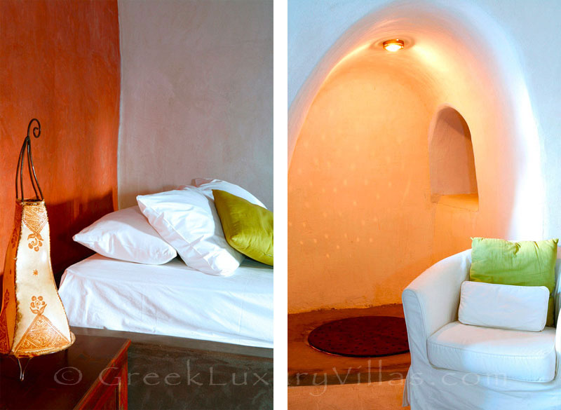 A romantic cave style bedroom in a stone house villa for two in Santorini