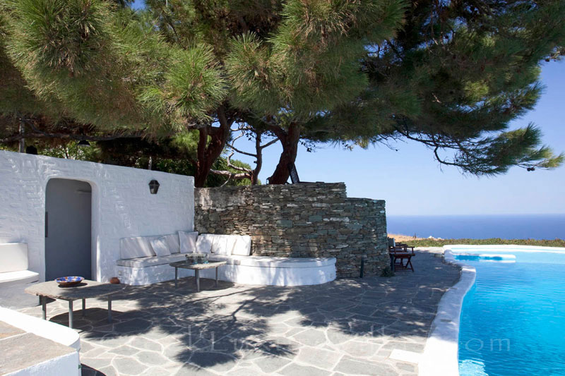 The pool area of an exquisite traditional villa in Sifnos