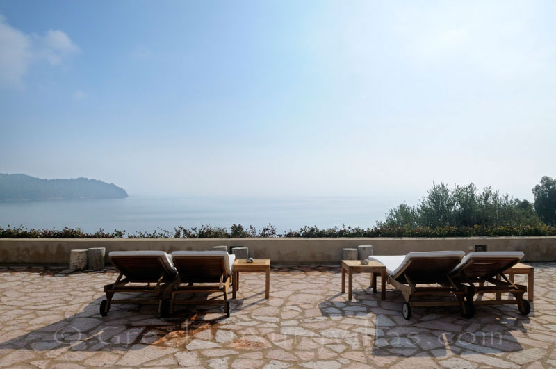 Sea view from luxury villa with pool on Skiathos