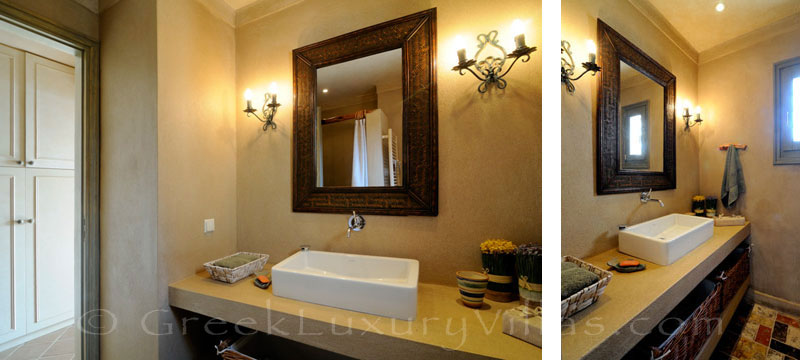 Bathroom of luxury villa with pool and private beach on Skiathos