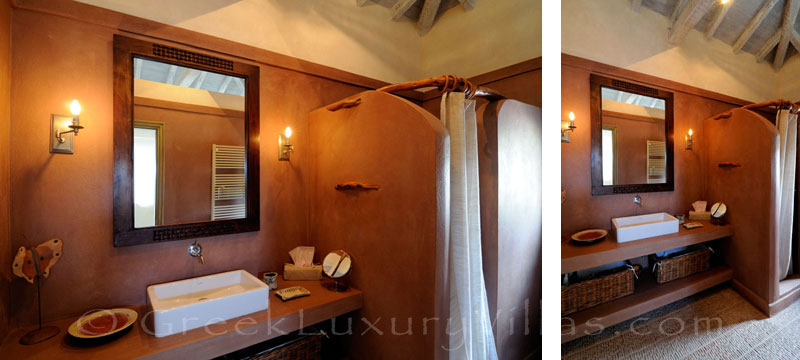 Bathroom of luxury villa with sea access and pool in Skiathos