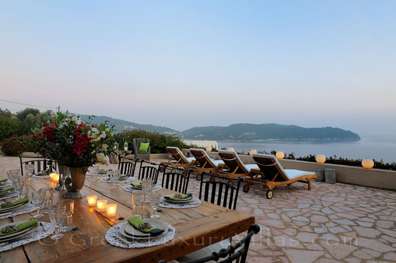 Dinner at the sunset in luxury villa with pool and private beach in Skiathos