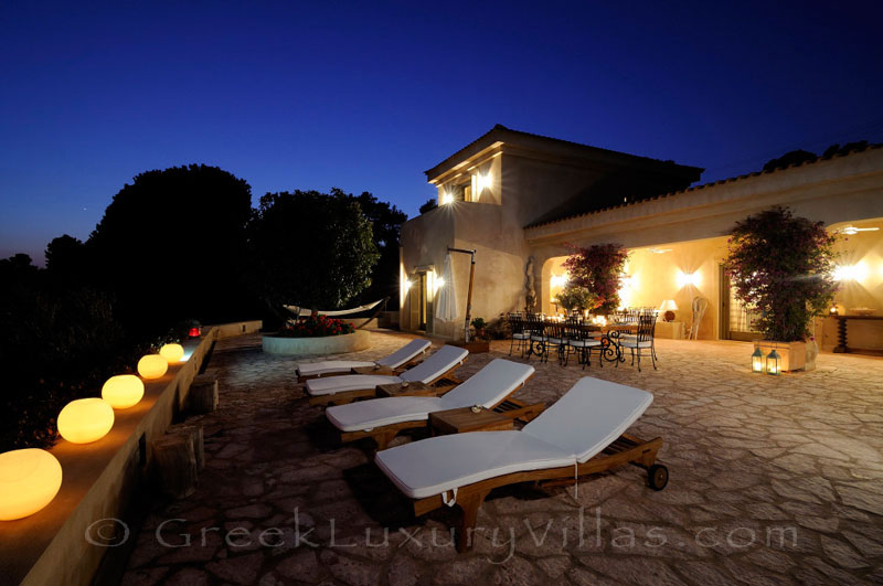 Night atmosphere at luxury villa with pool and private beach in Skiathos