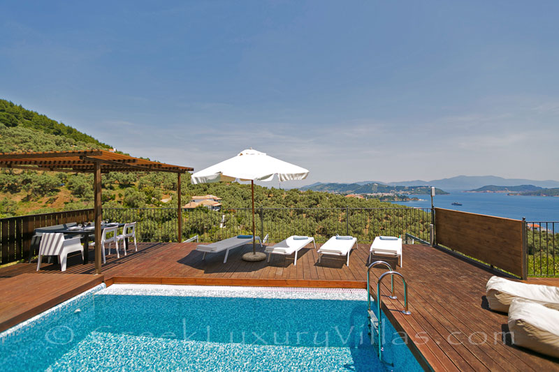 modern holiday villa with pool and sea view on Skiathos