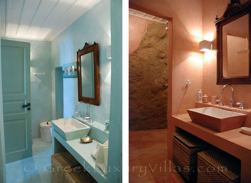 Skyros traditional luxury villa in Chora bathroom