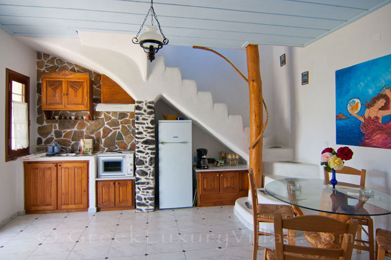 Open plan kitchen of villa for two in walking distance to the beach, Skyros