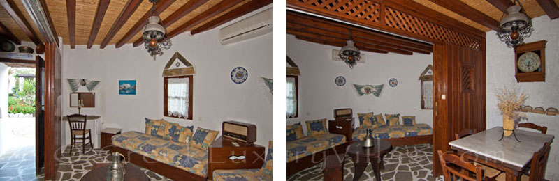 A living-room of the windmill with a garden near the beach in Skyros