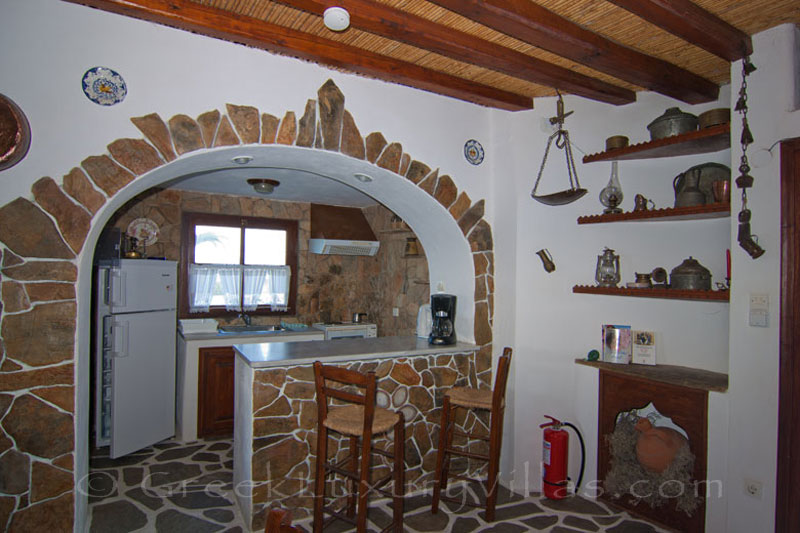 The kitchen of a windmill near the beach in Skyros
