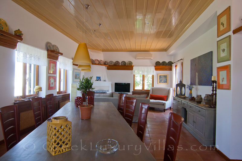 Dining area of absolute beachfront villa on Skyros