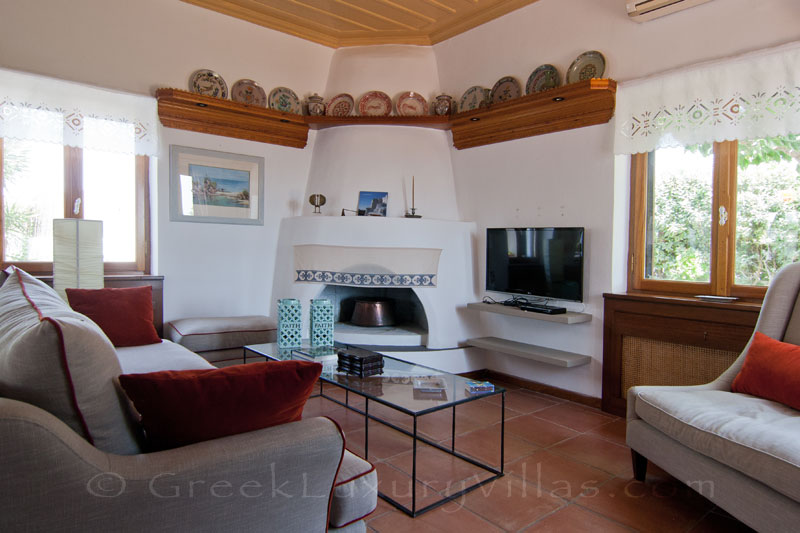 Cozy living room of beachfront villa on Skyros