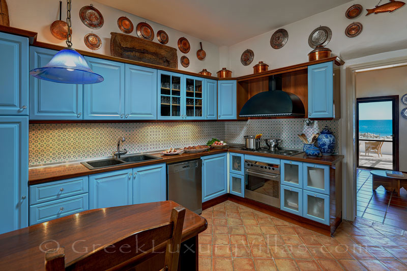 Kitchen of absolute beachfront villa in Skyros