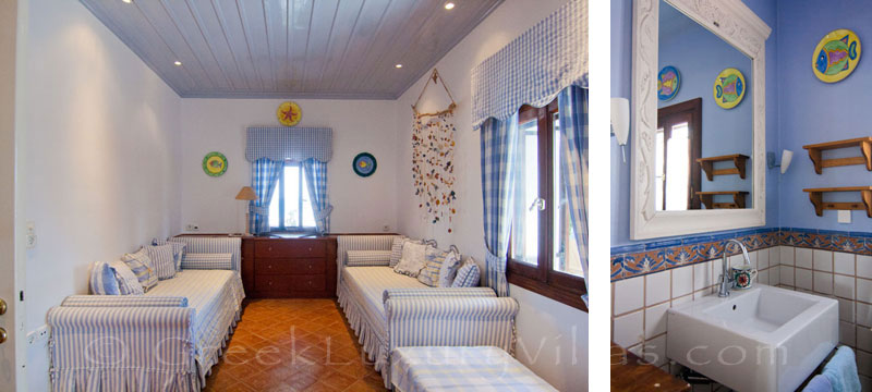 Bedroom and bathroom in absolute beachfront villa on Skyros