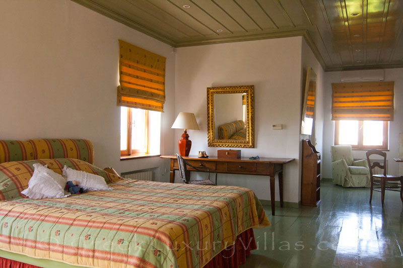 Master bedroom of beachfront villa in Skyros