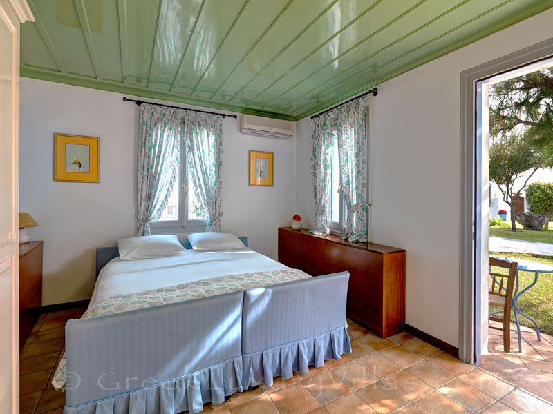Guest house bedroom of absolute beachfront villa on Skyros