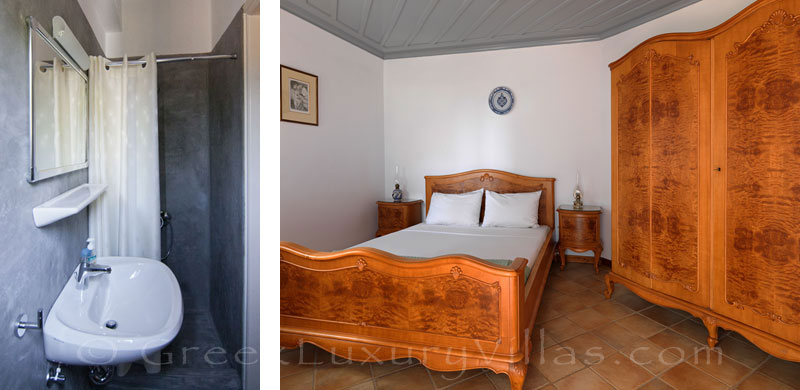 Bedroom of absolute beachfront villa on Skyros