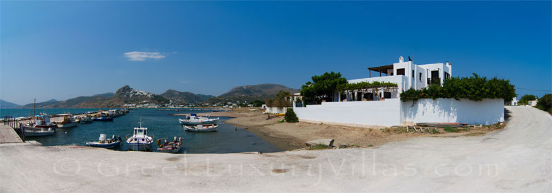 Panorama picture of absolute beachfront villa on Skyros