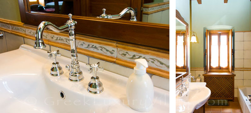 A luxurious bathroom in a traditional villa in Spetses