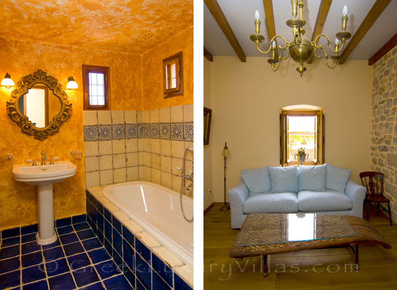 The bathroom of Ambelos in the traditional villa Ayoclima in Spetses
