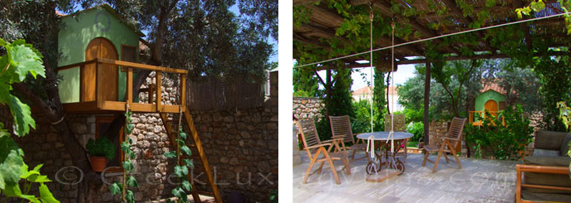 The traditional villa in Spetses with a garden