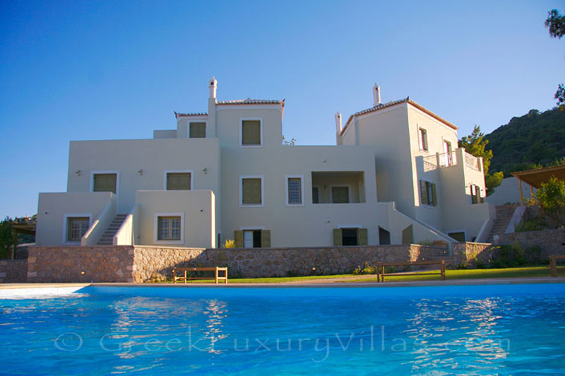 A luxury villa with a pool in Spetses