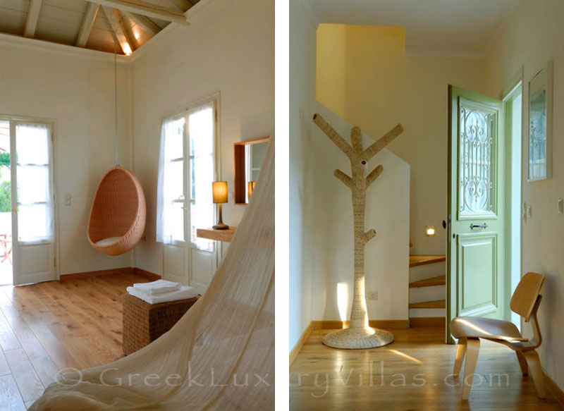 A bathroom in a luxury villa with a pool in Spetses
