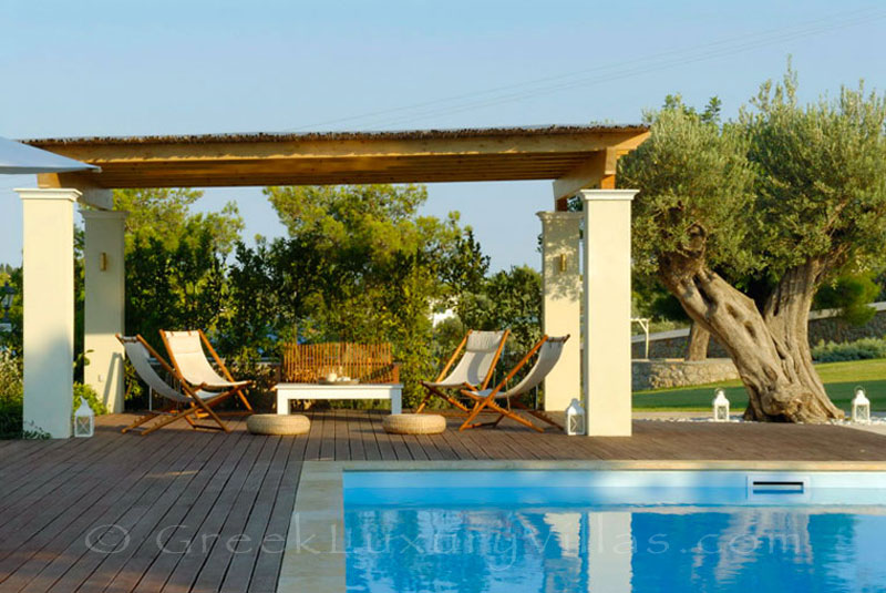 The luxury villa with a pool in Spetses