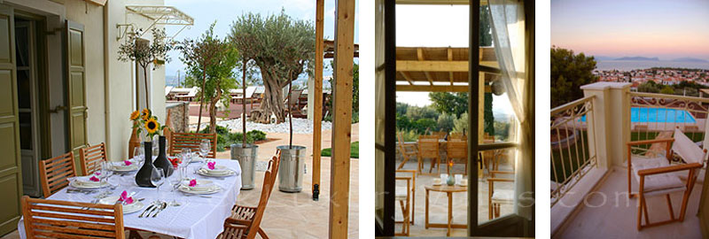 The outdoor dining area of a luxury villa with a pool in Spetses