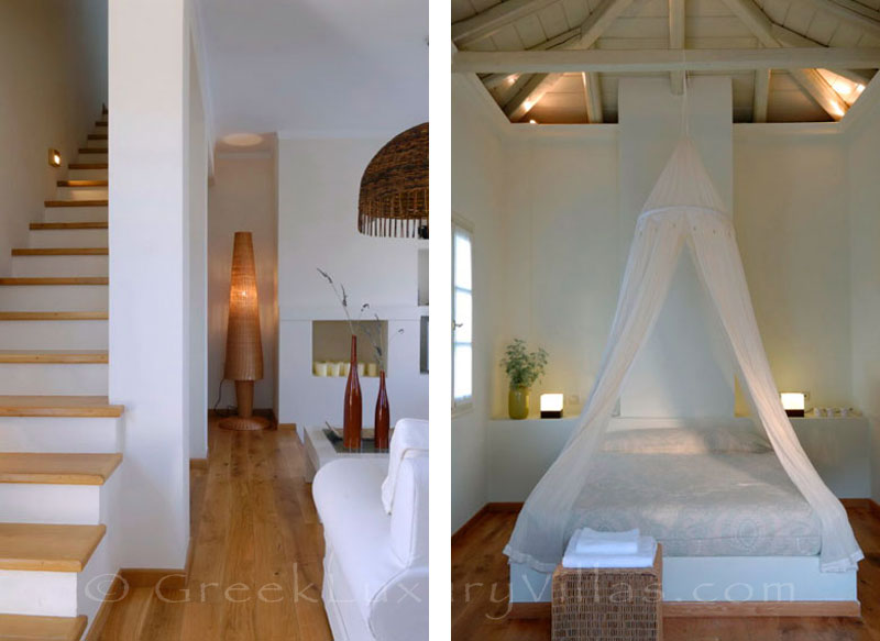 The bedroom of a luxury villa with a pool in Spetses