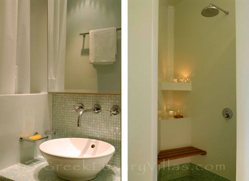 A bathroom of a luxury villa with a pool in Spetses
