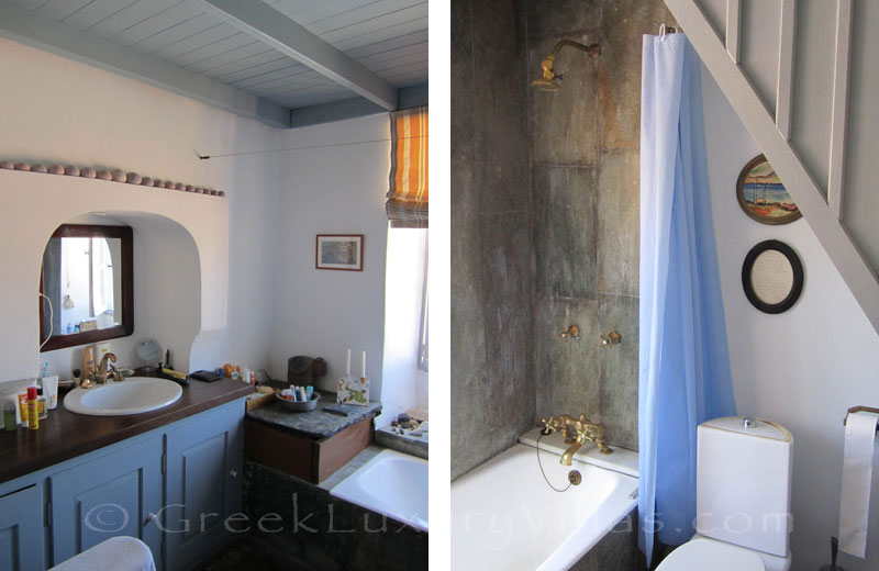 Bathroom of traditional villa on Symi