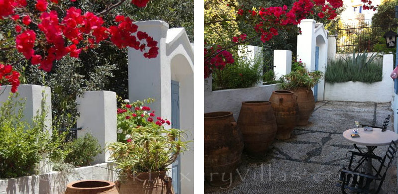 Garden of traditional villa in Symi