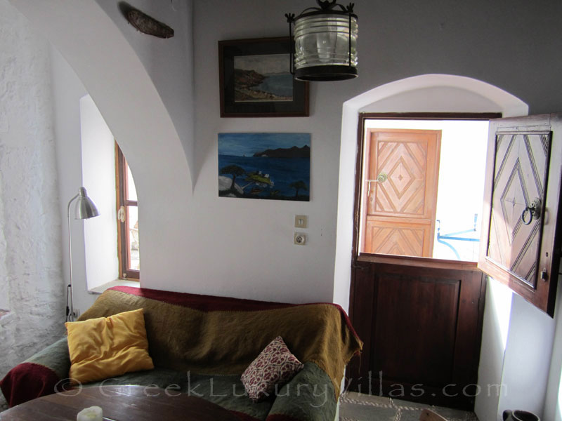 Lounge of traditional villa in Symi