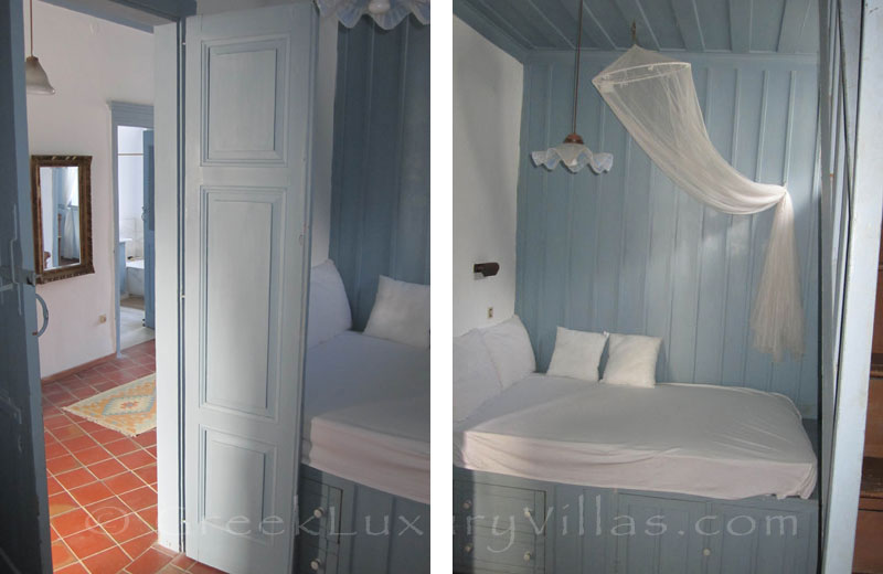 Bedroom of traditional, neoclassical villa in Symi