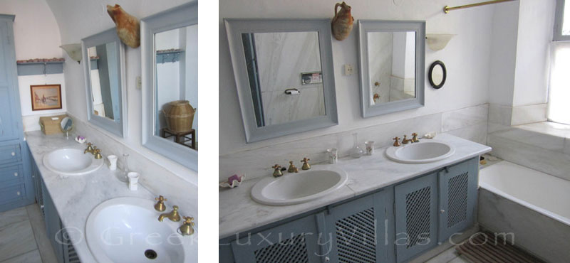 Bathroom of neoclassical villa in Symi, Dodecanese