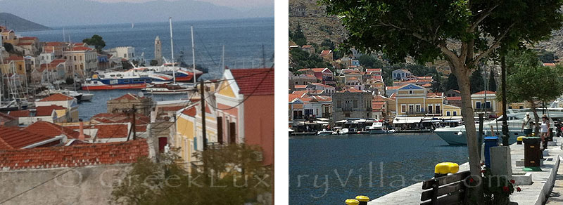Traditional, neoclassical villa overlooking the port of Symi.