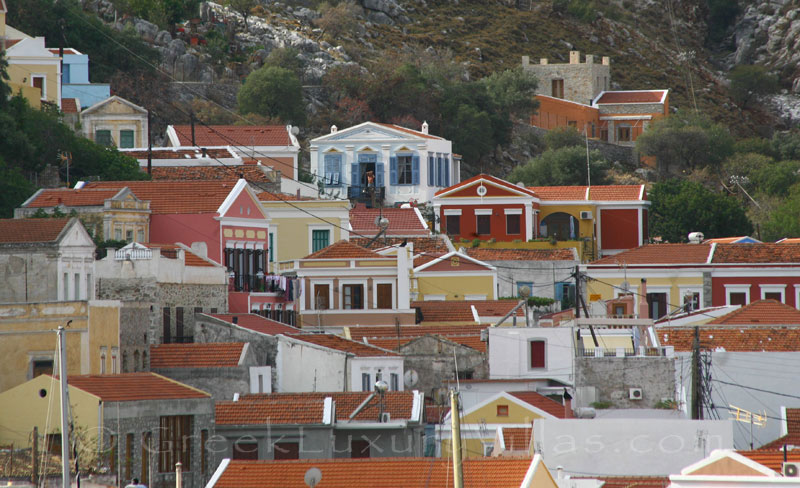 Traditional villa above the port of Symi