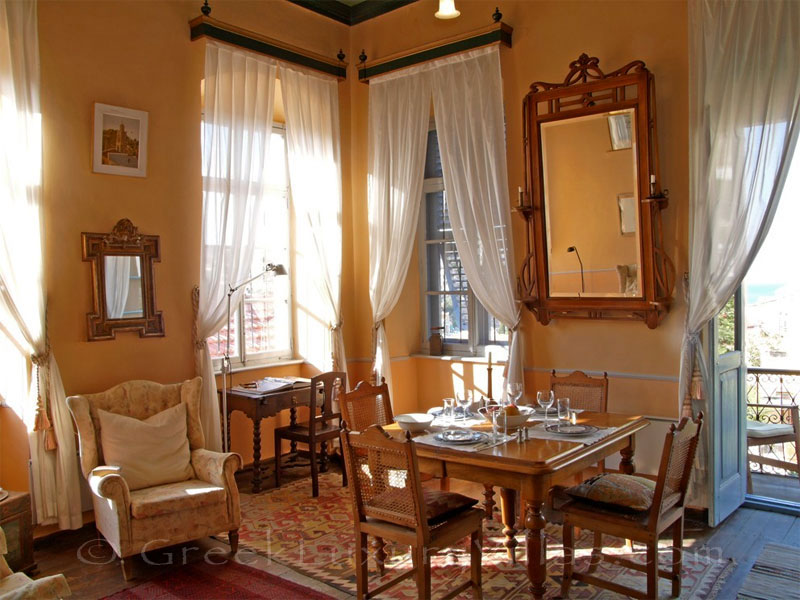 Living room of traditional, neoclassical villa on Symi.